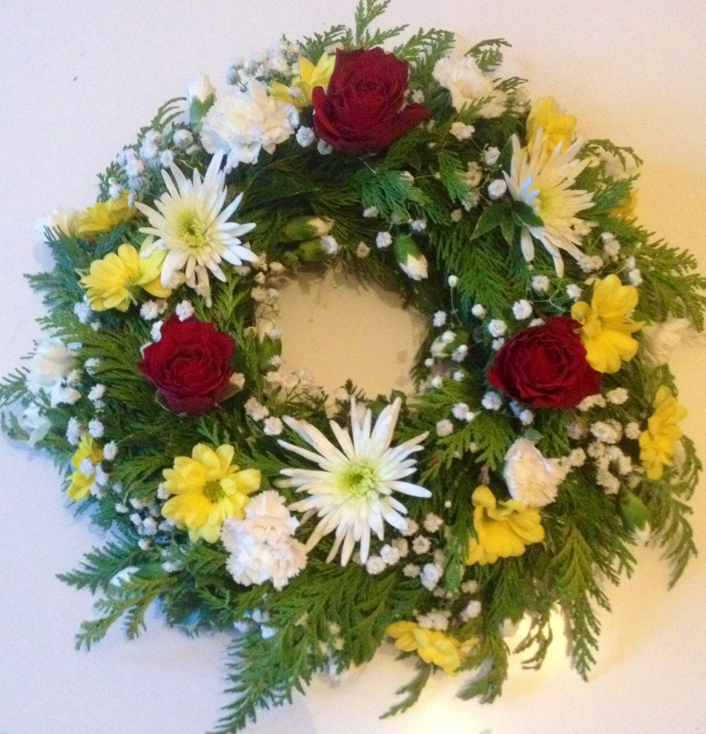 Loose mixed flower wreath