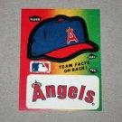 1984 FLEER BASEBALL - California Angels Team Logo & Hat Sticker Card