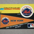 1986 FLEER BASEBALL - New York Mets Team Logo & Pennant Sticker Card