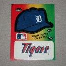 1984 FLEER BASEBALL - Detroit Tigers Team Logo & Hat Sticker Card