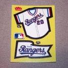 1985 FLEER BASEBALL - Texas Rangers Team Jersey & Flag Yellow Sticker Card