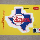 1986 FLEER BASEBALL - Texas Rangers Team Logo Yellow Sticker Card