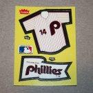 1985 FLEER BASEBALL - Philadelphia Phillies Team Jersey & Flag Sticker Card