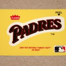 1986 FLEER BASEBALL - San Diego Padres Team Logo Yellow Sticker Card