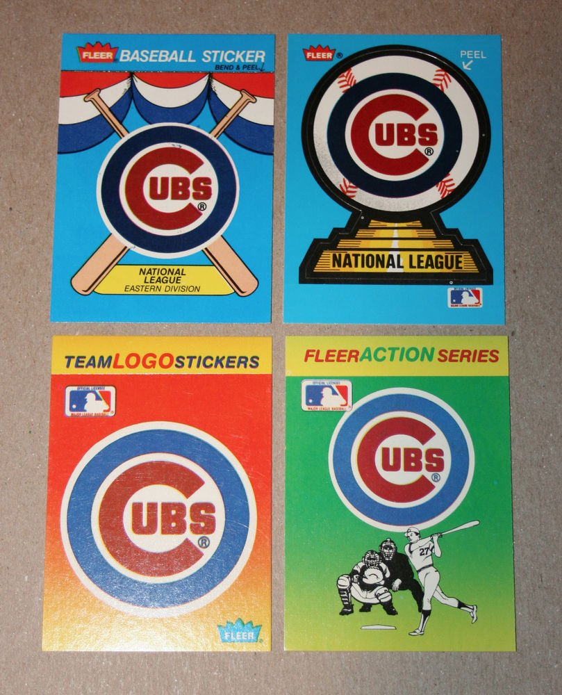 Lot of (4) FLEER BASEBALL - Chicago Cubs Team Logo Sticker Cards