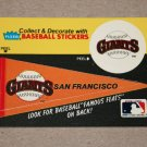1986 FLEER BASEBALL - San Francisco Team Logo & Pennant Sticker Card