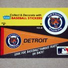 1986 FLEER BASEBALL - Detroit Tigers Team Logo & Pennant Sticker Card