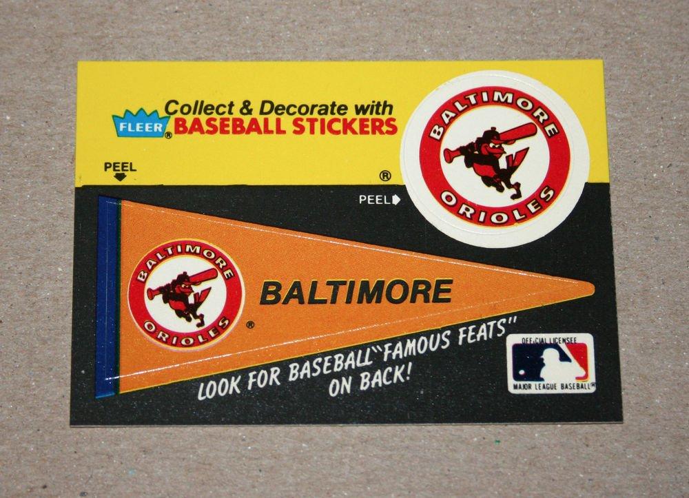 1986 FLEER BASEBALL - Baltimore Orioles Team Logo & Pennant Sticker Card