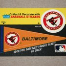 1986 FLEER BASEBALL - Baltimore Orioles Team Logo & Pennant Sticker Card