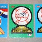 Lot of (3) FLEER BASEBALL - New York Yankees Team Logo Sticker Cards
