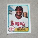 1981 FLEER BASEBALL - California Angels Team Set