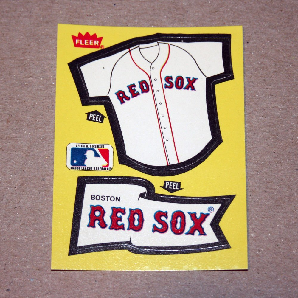 1985 FLEER BASEBALL - Boston Red Sox Team Jersey & Flag Yellow Sticker Card