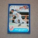 1986 FLEER BASEBALL - New York Yankees Team Set + Update Series