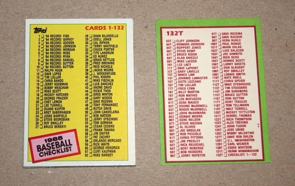 1985 TOPPS BASEBALL - Checklist Set + Traded Series