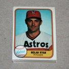 1981 FLEER BASEBALL - Houston Astros Team Set