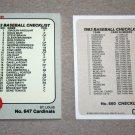 1983 FLEER BASEBALL - Checklist Set