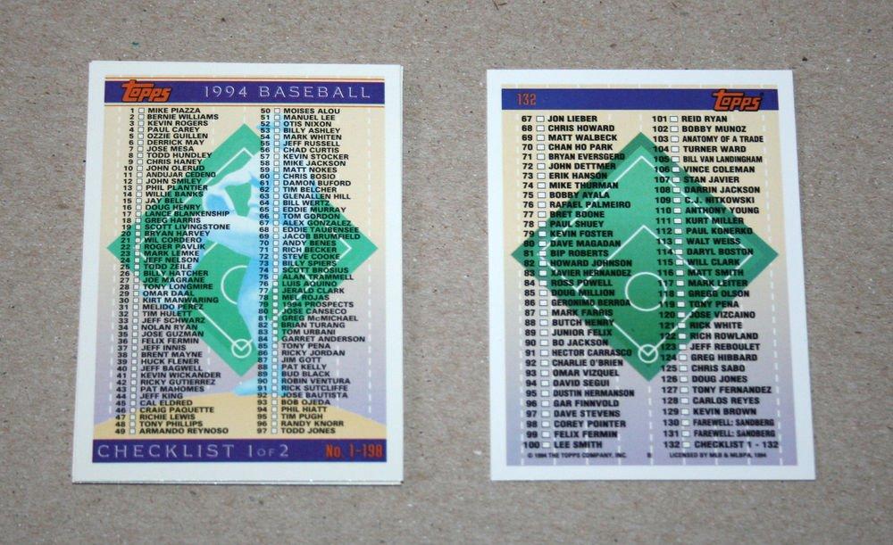 1994 TOPPS BASEBALL - Checklist Set + Traded Series