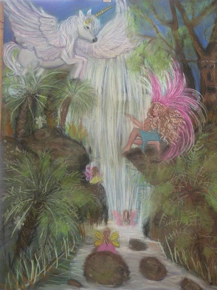 Unicorn Waterfall 24 x 16 FINE ART CANVAS FRAMED PRINT