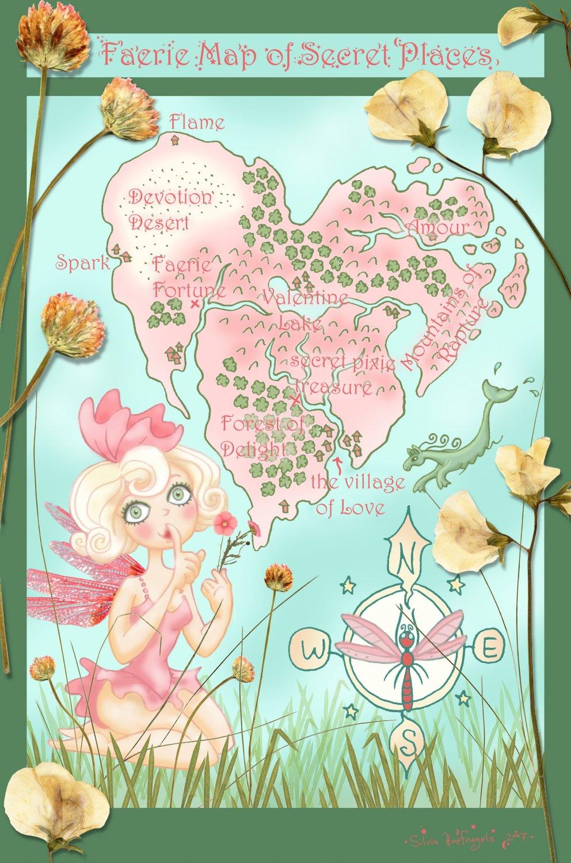 Heart Map 24 X 16 FINE ART CANVAS FRAMED PRINT