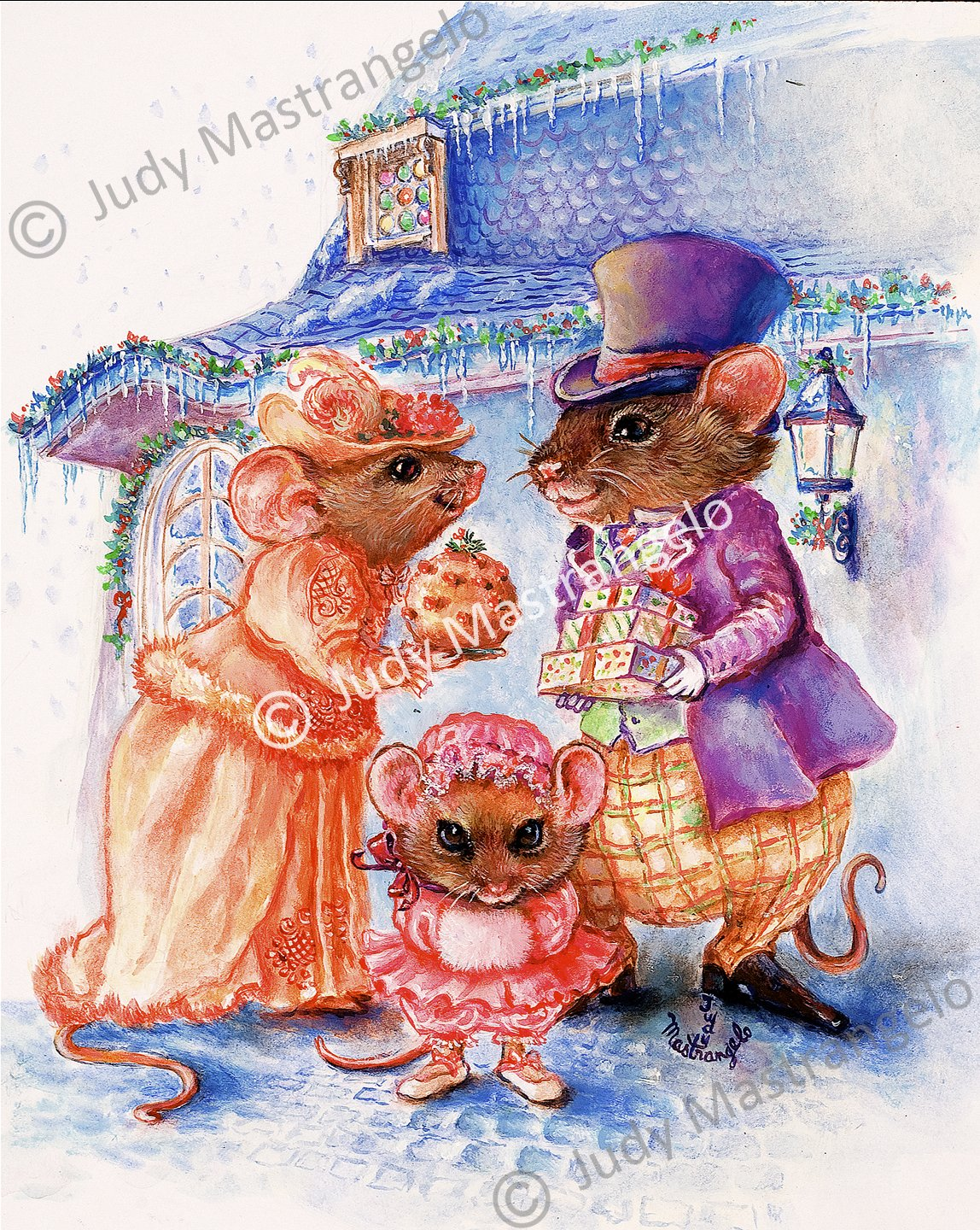 Mouse Christmas Gifts 12 X 8 FINE ART CANVAS FRAMED PRINT