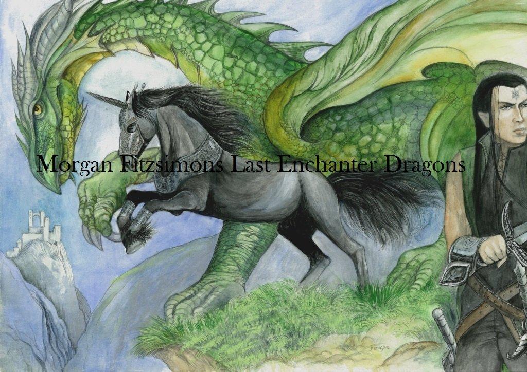 Black Bryony Unicorn with Asphodel & Green Dragon 24 x 16 FINE ART CANVAS FRAMED PRINT