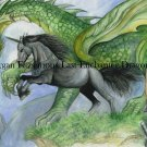 Black Bryony Unicorn with Asphodel & Green Dragon 24 x 16 FINE ART CANVAS FRAMED PRINT
