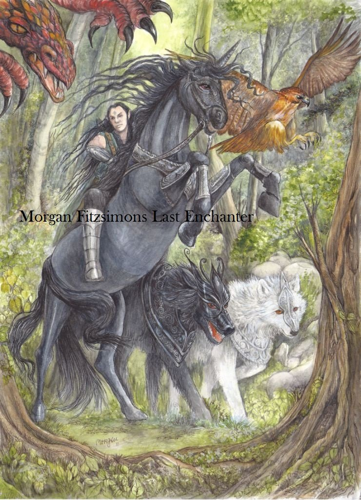 Black Bryony Unicorn Rearing with Asphodel & Dragon 24 x 16 FINE ART CANVAS FRAMED PRINT
