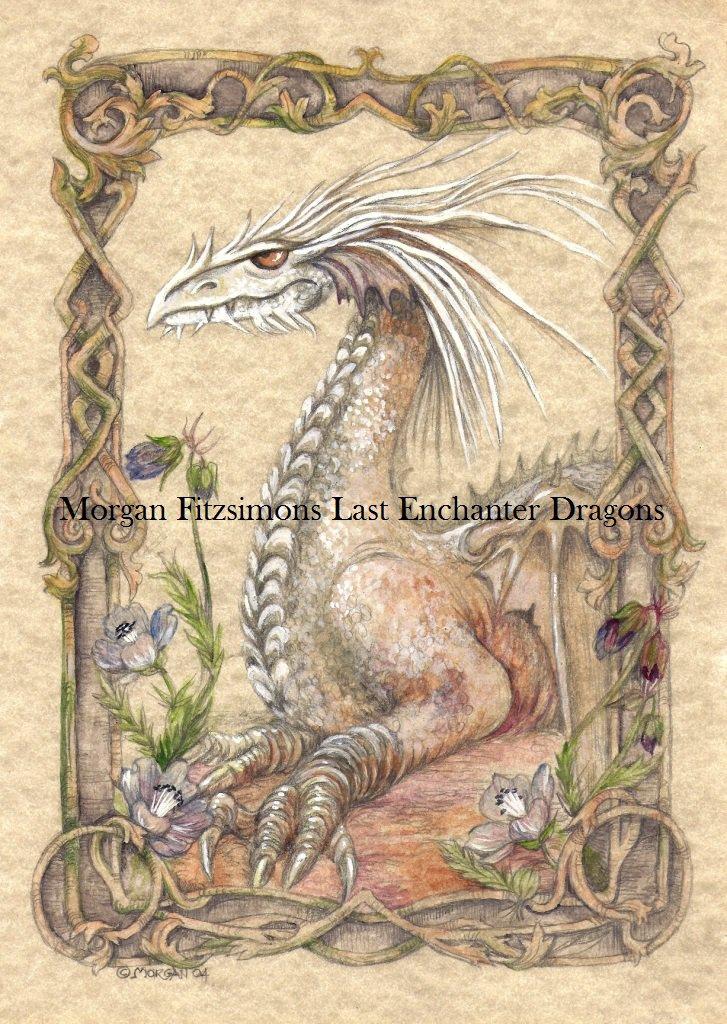 White Dragon 24 x 16 FINE ART CANVAS FRAMED PRINT