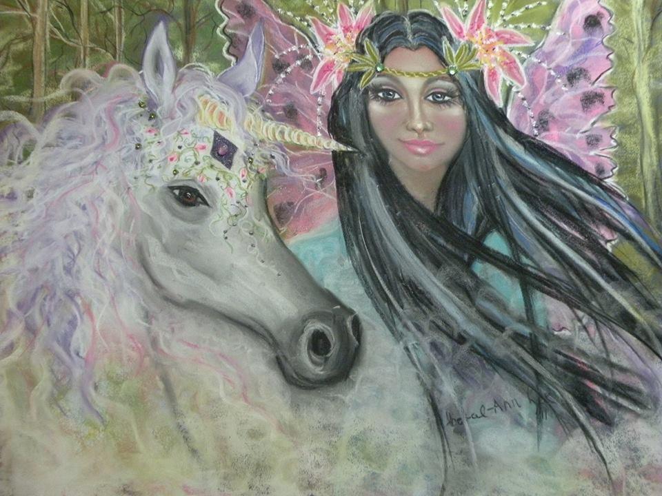 Unicorn Dreaming 24 x 16 FINE ART CANVAS FRAMED PRINT