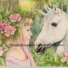 "Fairy Child with Unicorn"" 24 x 16 FINE ART CANVAS FRAMED PRINT"