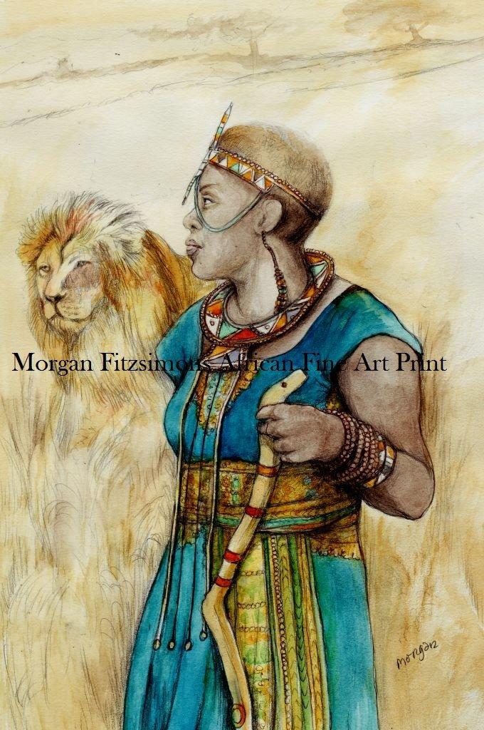 African Maasai 12 X 8 FINE ART CANVAS FRAMED PRINT