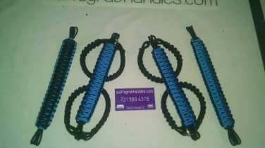 Jeep Wrangler JKU 4 Door Paracord Grab Handles Hydro blue and black