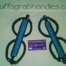 Jeep Wrangler JK Hydro Blue and black reverse wrap Paracord  Grab Handles.
