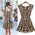 Womens Summer Casual Pleated Leopard Print Dress