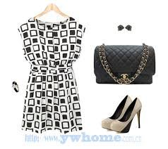 Geometric Print Elastic Casual Chiffon Tunic Party Mini Dress