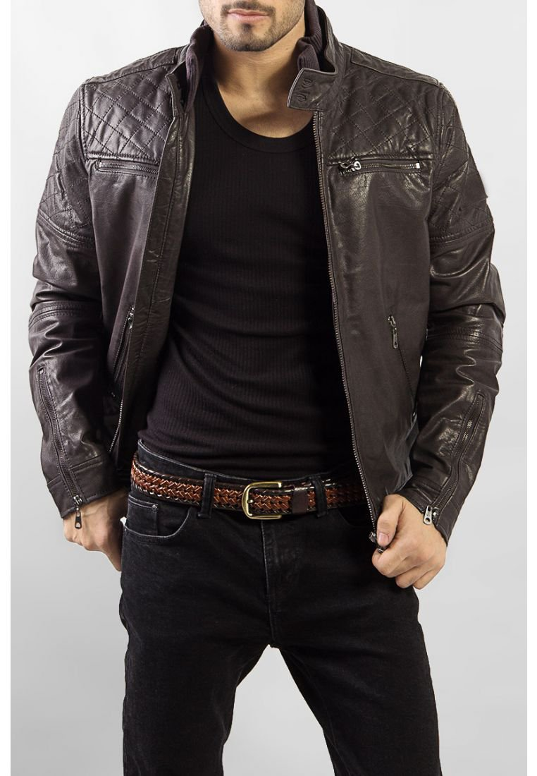 Bomber Jacket Mens Leather Jacket Original Leather Hand Made Brown/ Black Colour All Sizes Available