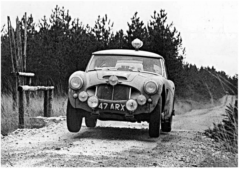 Timo Makinen Works Austin Healey 3.0 racing at 1962 R.A.C. Rally - Rally Car Photo Print