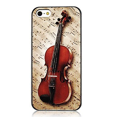Vivid Violin and Musical Note Aluminium Plastic Hard Back Case for iPhone 5/5S