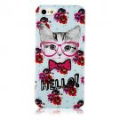Free Shipping Flower and Cat Hard Back Cover Case for iPhone 4/4S