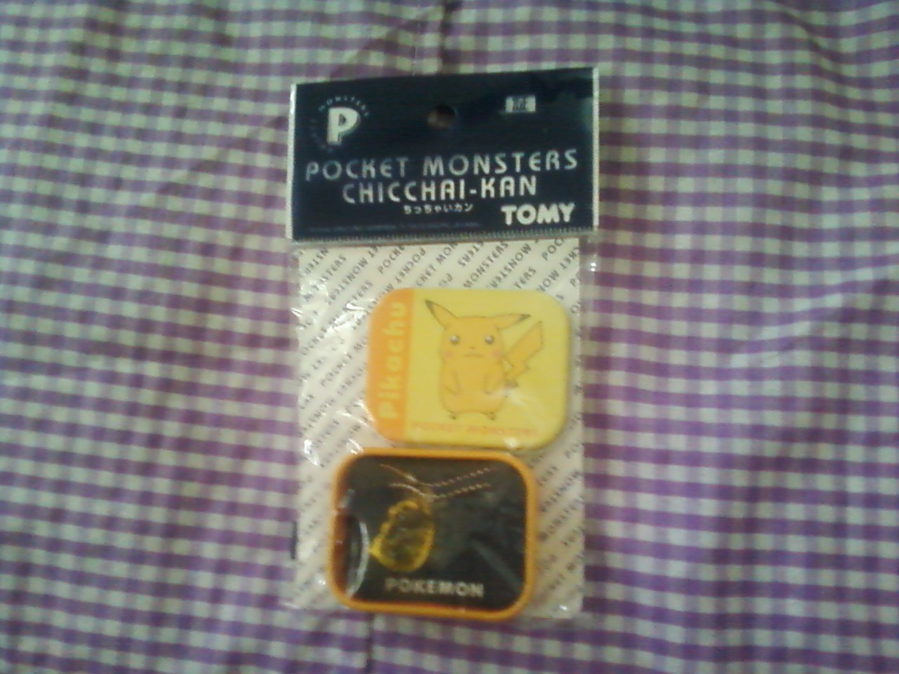 Super Cute! Collectable Tomy Pokemon clear Yellow pikachu charm keychain with tin case RARE