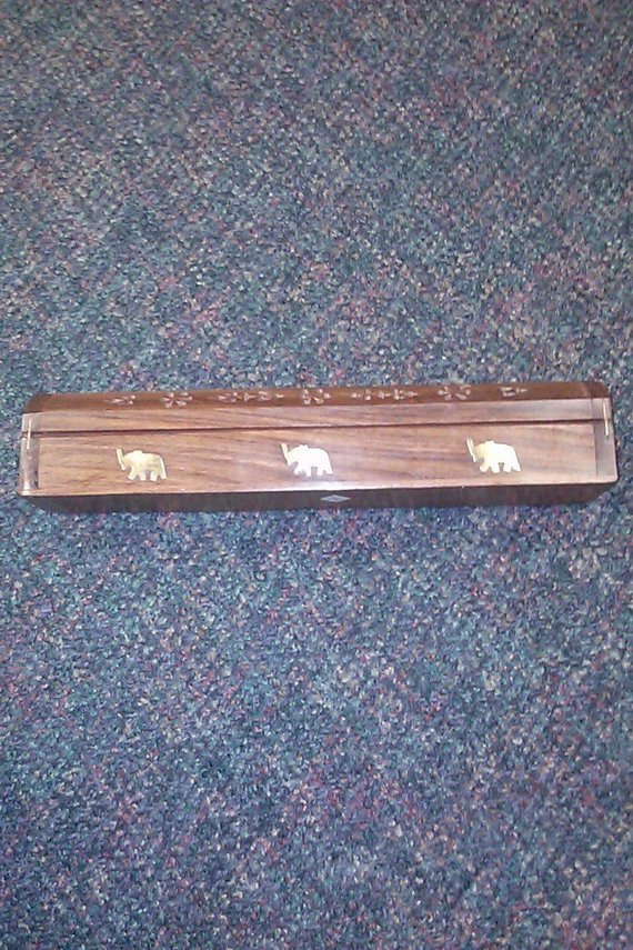 Wooden Coffin Incense Burner - Elephant Inlays - Storage Compartment NEW Incense Holder