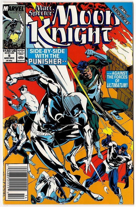Marc Spector: Moon Knight #9*VF/NM*with Punisher*1989*Marvel Comics