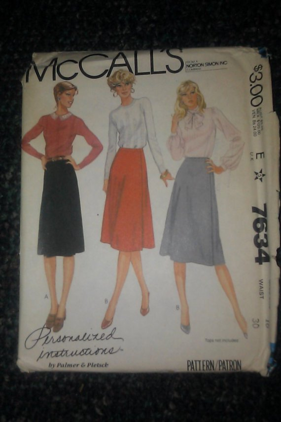 McCall's Palmer Pletsch Pattern 7634 Uncut Misses Skirt