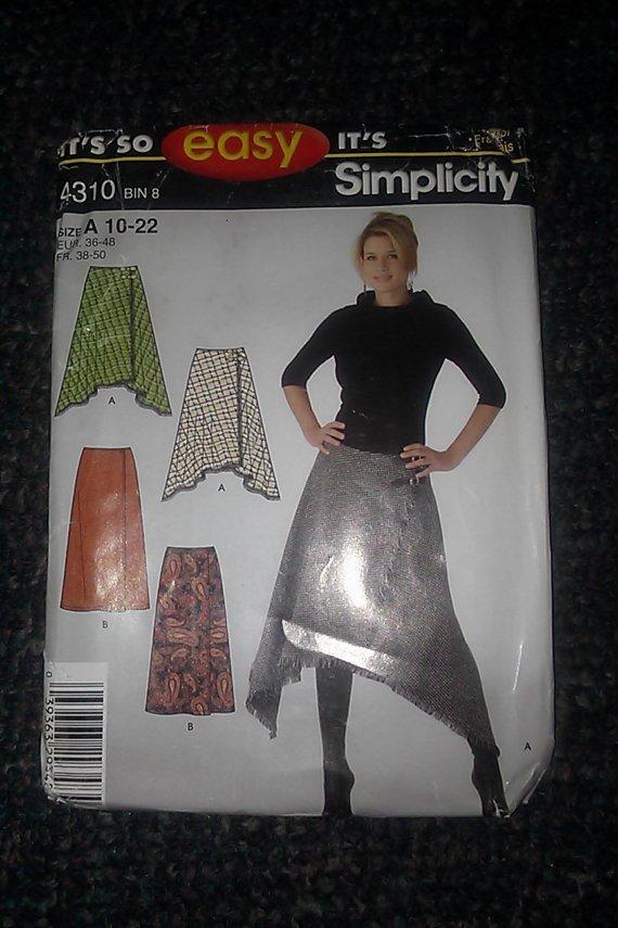 Simplicty 4310 Uncut 10-22 Front Wrap Diagonal Hemline Skirt Ethnic Boho Pattern