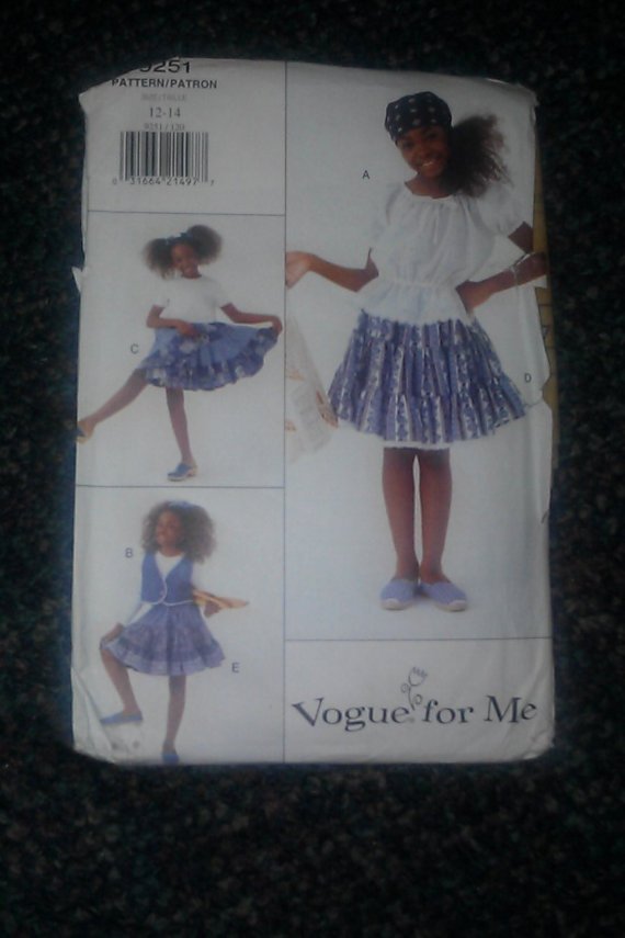 Vogue 9251 Sewing Pattern Girl's Vest Dress Top & Skirt Size 12~14 Pattern