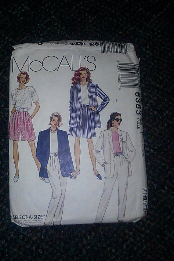McCall's 6383 Ladies Walking Shorts Tapered Pants Jacket Blouse Pattern 12,14,16 CUT