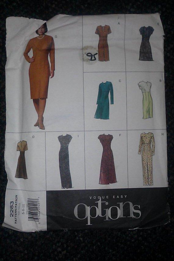 Vouge Easy Options 2283 Pattern 6-8-10 Misses Petite Dress