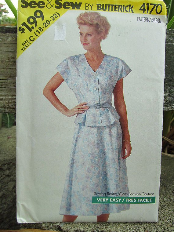 See & Sew Butterick 4170 Pattern Size B (12-14-16) Top Skirt Uncut