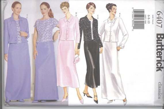 Butterick 6407 Misses' / Misses Petite Jacket, Top and Skirt Pattern
