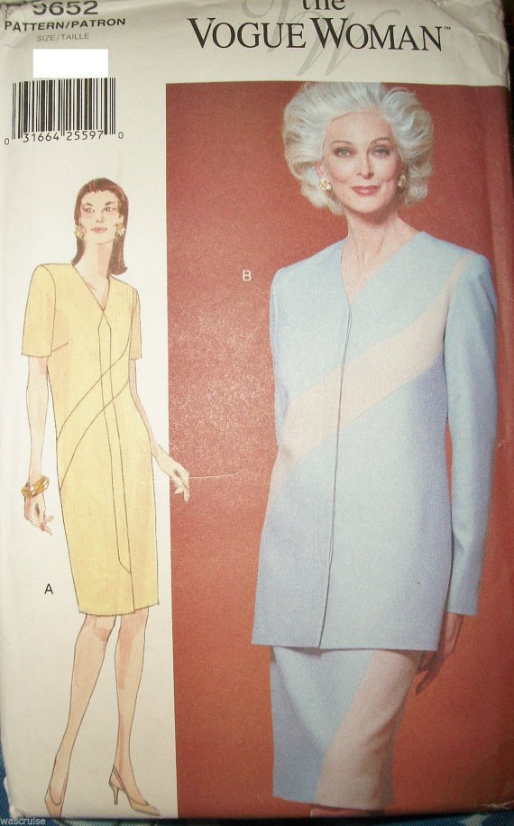 Ms Vogue Woman 9652 UNCUT Straight Inset Dress Top Skirt Pattern Easy 20-22-24